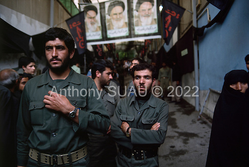 "Tehran, Iran .June 7, 1989..Mourners at the home of the Grand Ayatullah Sayid Ruhullah Musawi Khomeini in the north of Tehran. He died of heart attack on June 3, 1989...Khomeini was a senior Shi`i Muslim cleric, Islamic philosopher and marja (religious authority), and the political leader of the 1979 Iranian Revolution that saw the overthrow of Mohammad Reza Pahlavi, the last Shah of Iran. Following the revolution, Khomeini became the country's Supreme Leader?the paramount political figure of the new Islamic Republic. ..Khomeini was a marja al-taqlid, (source of imitation) and important spiritual leader to many Shia Muslims. He was also an innovative Islamic political theorist, most noted for his development of the theory of velayat-e faqih, the ""guardianship of the jurisconsult (clerical authority)"". He was named Time's Man of the Year in 1979 and also one of Time magazine's 100 most influential people of the 20th century."
