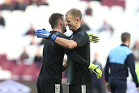 Burnley's Joe Hart and Thomas Heaton during the warm-up<br /> <br /> Photographer Rob Newell/CameraSport<br /> <br /> The Premier League - West Ham United v Burnley - Saturday 3rd November 2018 - London Stadium - London<br /> <br /> World Copyright &copy; 2018 CameraSport. All rights reserved. 43 Linden Ave. Countesthorpe. Leicester. England. LE8 5PG - Tel: +44 (0) 116 277 4147 - admin@camerasport.com - www.camerasport.com