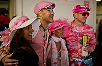LOUISVILLE, KY - MAY 05: Fans pose in their all pink attire on Kentucky Oaks Day at Churchill Downs on May 5, 2017 in Louisville, Kentucky. (Photo by Scott Serio/Eclipse Sportswire/Getty Images)