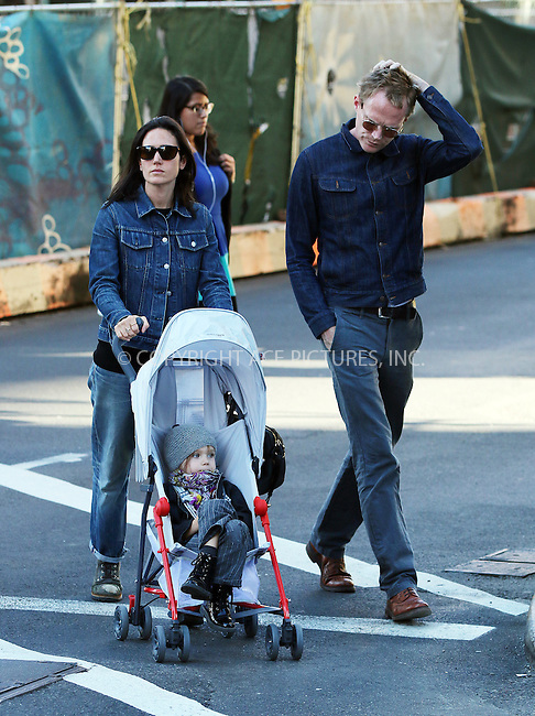 ACEPIXS.COM<br /> <br /> September 22 2014, New York City<br /> <br /> Jennifer Connelly and Paul Bettany wear matching double denim outfits as they walk in Soho with their daughter Agnes Lark Bettany on September 22 2014 in New York City<br /> <br /> By Line: Zelig Shaul/ACE Pictures<br /> <br /> ACE Pictures, Inc.<br /> www.acepixs.com<br /> Email: info@acepixs.com<br /> Tel: 646 769 0430