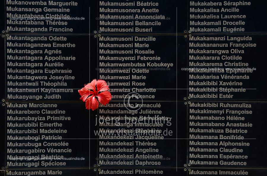 RWANDA, Kigali, Kigali Genocide Memorial , a museum and memorial to remember the genocide of 1994 where about 1 million Tutsi were murdered by Hutu, plate with Tutsi victims of mass grave / RUANDA, Kigali, Voelkermorddenkmal, Museum, Denkmal und Ruhestaette fuer 250.000 Opfer des Genozids an der Tutsi Bevoelkerungsgruppe im Jahr 1994, Kigali Genocide Memorial, Grabtafel mit Namen ermordeter Tutsi
