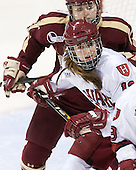 Lexi Bender (BC - 21), Kalley Armstrong (Harvard - 13) - The Boston College Eagles defeated the Harvard University Crimson 2-1 in the 2013 Beanpot opening round on Tuesday, February 5, 2013, at Matthews Arena in Boston, Massachusetts.