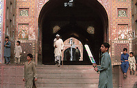 Entrance to the Wazir Khan Mosque in Lahore, Pakistan in 1996. The mosque was built around 1634–1635 during the reign of the Mughal Emperor Shah Jehan.