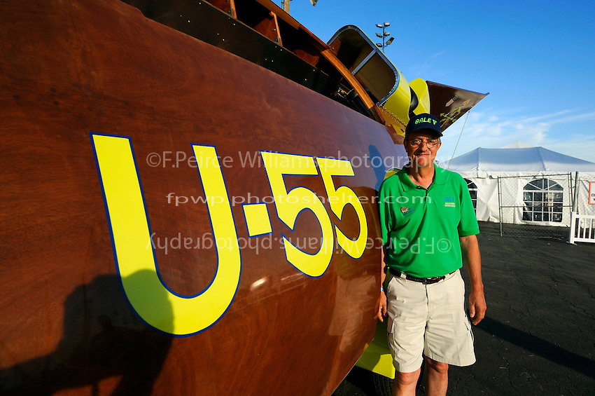 """Builder Bill Black and his replica of the 1955 Gold Cup winning U-55 """"Gale V""""."""