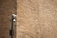 Daytime landscape view of a surveillance camera near a wall of the Zijin Cheng in Dongcheng, Beijing  © LAN