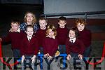 Junior Infants of Kilmoyley NS with their teacher Angela O'Carroll who started school on Friday. Front l-r: Daire Mai Brassil, Cathal O'Connor and Orna Nolan. Back : L-r: Padraig Flaherty, Angela O'Carroll (teacher), Dermot Carroll,Darragh Diggin and Diarmuid Carroll