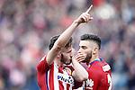 Atletico de Madrid's Saul Niguez (l) and Yannick Carrasco celebrate goal during La Liga match. February 6,2016. (ALTERPHOTOS/Acero)