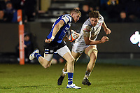 Ruaridh McConnochie of Bath Rugby goes on the attack. Premiership Rugby Cup match, between Bath Rugby and Gloucester Rugby on February 3, 2019 at the Recreation Ground in Bath, England. Photo by: Patrick Khachfe / Onside Images