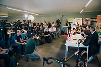 press conference announcing the 2018/2019 plans of cyclocross World Champion Wout van Aert (BEL)<br /> <br /> announcing his Cibel-Cebon Offroad Team<br /> <br /> photo by &copy;kramon<br /> 5 october 2018