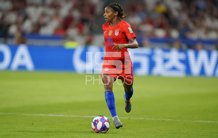 DECINES-CHARPIEU, FRANCE - JULY 02: Crystal Dunn #19 during a 2019 FIFA Women's World Cup France Semi-Final match between England and the United States at Groupama Stadium on July 02, 2019 in Decines-Charpieu, France.