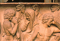 Greek Art:  Roman Sarcophagus--Figures of Bereavement, depicting death of Hector.  He's tied to chariot.  Louvre.