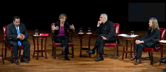 "September 28, 2011; From left to right, participants Juan Rangel, CEO for the United Neighborhood Organization, Randi Weingarten, president of the American Federation of Teachers, AFL-CIO, Bishop Gerald F. Kicanas and Wendy Kopp, CEO and founder of Teach For America, during their discussion titled, ""The Conversation: Developing the Schools Our Children Deserve"" part of the 2011-12 Notre Dame Forum at the Leighton Concert Hall. Photo by Barbara Johnston/University of Notre Dame"