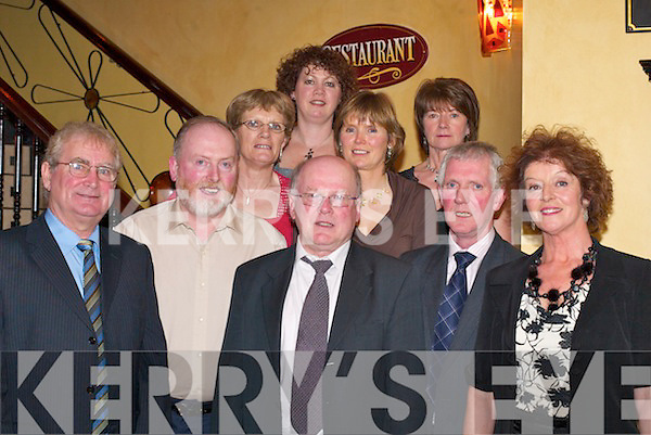 TEACHERS RETIRE: In Lord Kenmares Restaurant, Killarney, last Friday night, Killarney Community College teachers (front row l-r) Humphrey.Curran, Desmond Mangan, John OHalloran and Julie Shanahan celebrate their retirement with Principal Pat Favier (centre) and (back row) Madeline.Mangan, Agnes Curran, Mary Lucey and Pauline OHalloran.