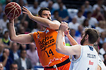 Real Madrid's player Andres Nocioni and Valencia Basket's Dubljevic during the first match of the Semi Finals of Liga Endesa Playoff at Barclaycard Center in Madrid. June 02. 2016. (ALTERPHOTOS/Borja B.Hojas)