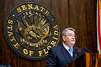TALLAHASSEE, FLA. 3/4/14-Senate President Don Gaetz, R-Niceville, addresses the Senate during the opening day of the legislative session, March 4, 2014 at the Capitol in Tallahassee.<br />