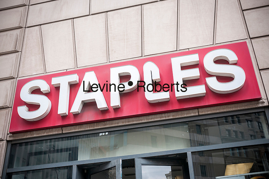 A Staples office supply store in Lower Manhattan in New York on Wednesday, April 5, 2017. Stock in Staples jumped after it was reported that the company is in discussion with private equity groups for a sale. (© Richard B. Levine)