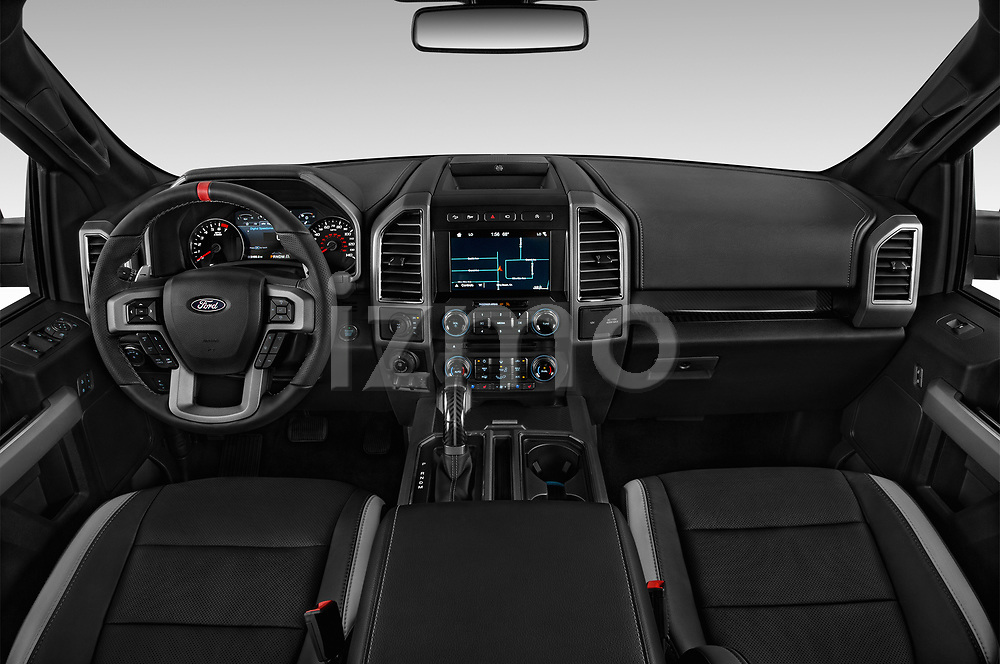 Stock photo of straight dashboard view of a 2018 Ford F-150 Raptor 4 Door Pick Up