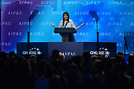Washington, DC - March 5, 2018: U.N. Ambassador Nikki Haley addresses attendees of the 2018 American Israel Public Affairs Committee (AIPAC) Policy Conference at the Washington Convention Center March 5, 2018.  (Photo by Don Baxter/Media Images International)