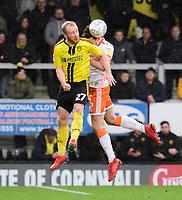 Blackpool's Ben Heneghan vies for possession with Burton Albion's Liam Boyce<br /> <br /> Photographer Chris Vaughan/CameraSport<br /> <br /> The EFL Sky Bet League One - Burton Albion v Blackpool - Saturday 16th March 2019 - Pirelli Stadium - Burton upon Trent<br /> <br /> World Copyright &copy; 2019 CameraSport. All rights reserved. 43 Linden Ave. Countesthorpe. Leicester. England. LE8 5PG - Tel: +44 (0) 116 277 4147 - admin@camerasport.com - www.camerasport.com