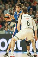 Real Madrid´s Andres Nocioni and Anadolu Efes´s Dario Saric during 2014-15 Euroleague Basketball match between Real Madrid and Anadolu Efes at Palacio de los Deportes stadium in Madrid, Spain. December 18, 2014. (ALTERPHOTOS/Luis Fernandez) /NortePhoto /NortePhoto.com