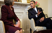 Washington, DC - January 5, 2008 -- United States President-elect Barack Obama (R) meets Speaker of the House Rep. Nancy Pelosi (D-CA) in her office at the U.S. Capitol, Monday, January 5, 2009 in Washington, DC. The Obama family moved to the capital over the weekend so the daughters could begin school in Washington today. Obama met with Pelosi and will meet with his top economic advisors to begin work on a stimulus package that they hope will include hundreds of billions of dollars worth of tax breaks for individuals and businesses. .Credit: Chip Somodevilla - Pool via CNP