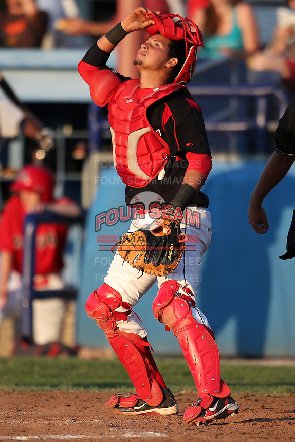 Batavia Muckdogs catcher Juan Castillo #35 during a game against the Mahoning Valley Scrappers at Dwyer Stadium on July 5, 2011 in Batavia, New York.  Batavia defeated Mahoning Valley 2-1.  (Mike Janes/Four Seam Images)