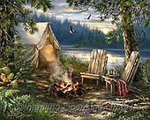 Dona Gelsinger, LANDSCAPES, LANDSCHAFTEN, PAISAJES,camping,lake, paintings+++++,USGE1902,#l#, EVERYDAY