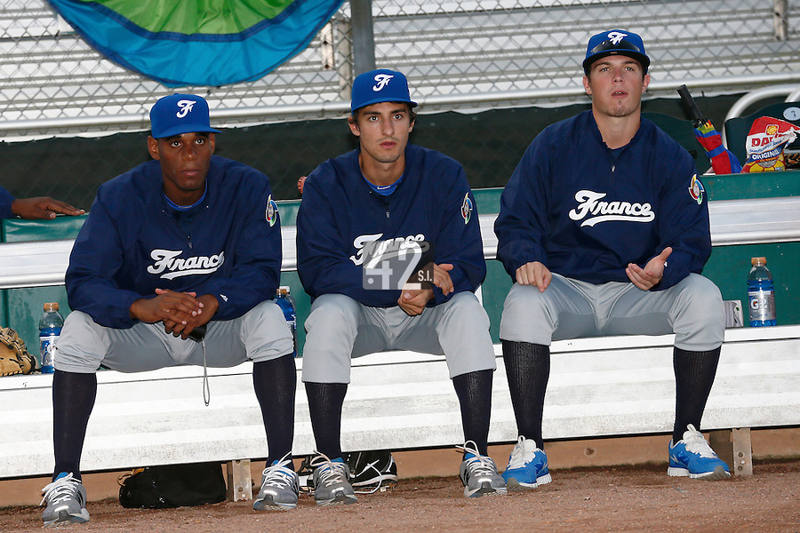 20 September 2012: Leonel Cespedes, Eloi Secleppe and Warren Coopman are seen prior to Spain 8-0 win over France, at the 2012 World Baseball Classic Qualifier round, in Jupiter, Florida, USA.