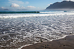 Atlantic Ocean coast beach and waves, Caleta de Famara, Lanzarote, Canary islands, Spain
