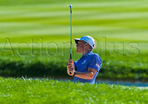 February 14,2016 Jordan Spieth gets his ball out of a sand trap of the 10th hole  during the final  round of the AT&T Pebble Beach National Pro-Am  in Pebble Beach, CA.