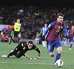 04.02.2012. Barcelona, Spain. Leo Messi and Bravo in action during La Liga match between FC Barcelona against Real Sociedad at Camp Nou