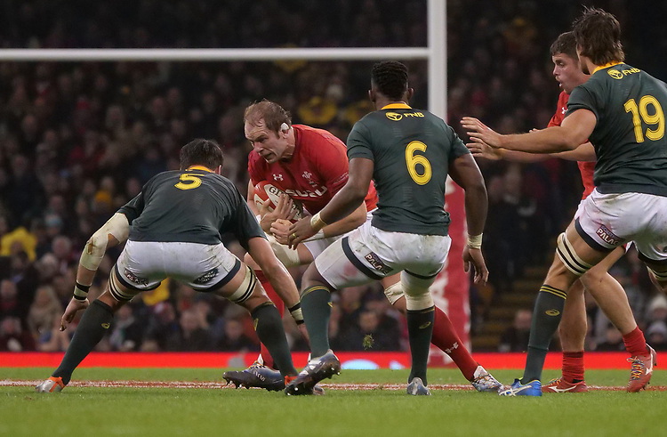 Wales' Alun Wyn-Jones takes on South Africa's Franco Mostert<br /> <br /> Photographer Ian Cook/CameraSport<br /> <br /> Under Armour Series Autumn Internationals - Wales v South Africa - Saturday 24th November 2018 - Principality Stadium - Cardiff<br /> <br /> World Copyright © 2018 CameraSport. All rights reserved. 43 Linden Ave. Countesthorpe. Leicester. England. LE8 5PG - Tel: +44 (0) 116 277 4147 - admin@camerasport.com - www.camerasport.com
