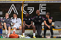 Crystal Palace Manager, Frank De Boer shows his frustration as he watches the match alongside his Assistant, Orlando Trustfull during Maidstone United vs Crystal Palace, Friendly Match Football at the Gallagher Stadium on 15th July 2017