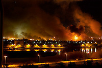 Baghdad, Iraq, March 2I, 2003.The Iraqi Presidential complex is heavily hit by a US bombardment.