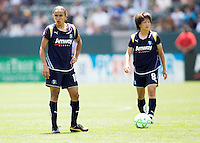 LA Sol players Marta (l) and Aya Miyama (over ball). The Boston Breakers and LA Sol played to a 0-0 draw at Home Depot Center stadium in Carson, California on Sunday May 10, 2009.   .
