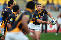 Shaun Treeby feeds the Wellington backline. ITM Cup - Wellington Lions v Counties-Manukau Steelers at Westpac Stadium, Wellington, New Zealand on Sunday, 8 August 2010. Photo: Dave Lintott/lintottphoto.co.nz.