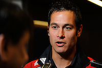 Mike Petke (12) of the New York Red Bulls is interviewed during media day at Red Bull Arena in Harrison, NJ, on March 16, 2010.
