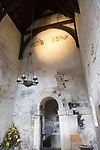 Interior walls with carved angels high up near the roof, Saxon church of Saint Laurence, Bradford on Avon, Wiltshire, England, UK probably built circa 1000 AD