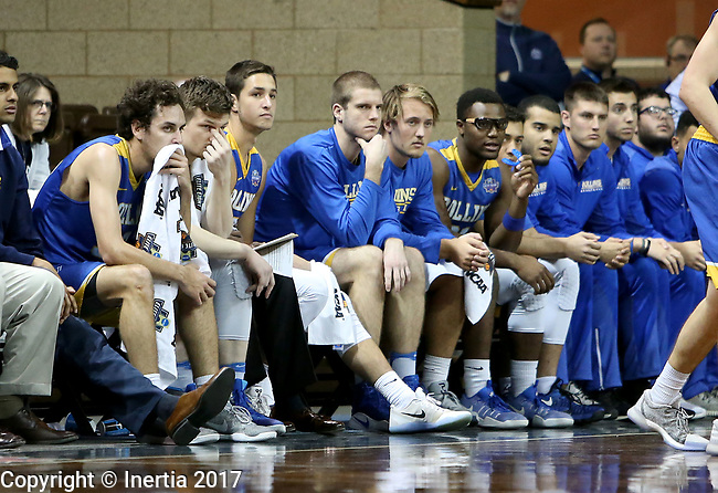 SIOUX FALLS, SD: MARCH 22: The Rollins bench sums up their 86-68 loss to Fairmont State during the Men's Division II Basketball Championship Tournament on March 22, 2017 at the Sanford Pentagon in Sioux Falls, SD. (Photo by Dave Eggen/Inertia)