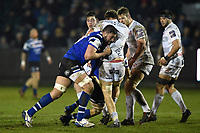 Elliott Stooke of Bath Rugby puts in a big tackle. Premiership Rugby Cup match, between Bath Rugby and Gloucester Rugby on February 3, 2019 at the Recreation Ground in Bath, England. Photo by: Patrick Khachfe / Onside Images