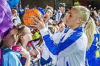 Boston, MA - Saturday April 29, 2017: Adriana Leon and fans during a regular season National Women's Soccer League (NWSL) match between the Boston Breakers and Seattle Reign FC at Jordan Field.
