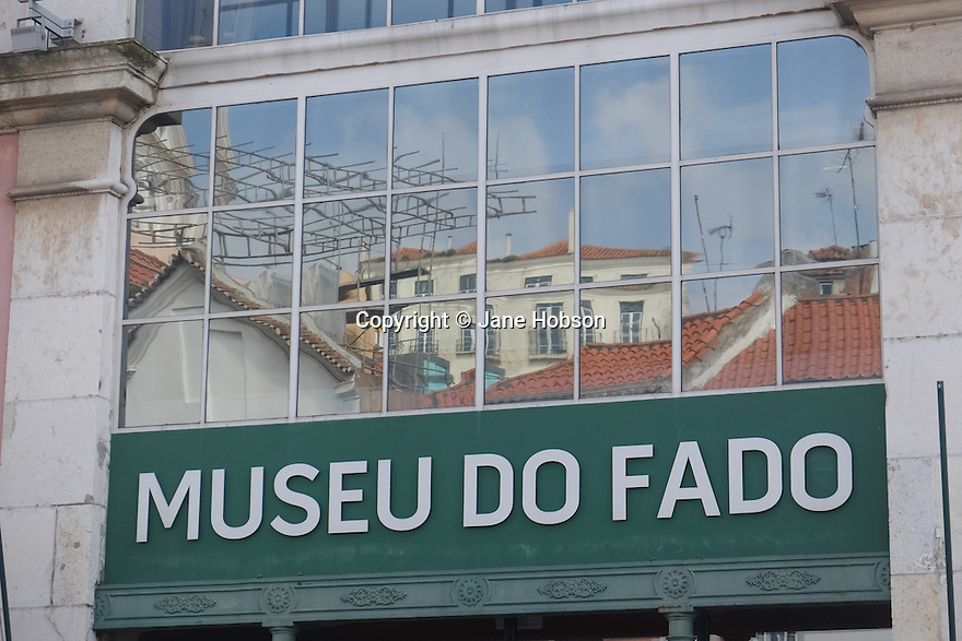 Lisbon, Portugal. 21.03.2015. Museu do Fado sign, in the Alfama district of Lisbon. © Jane Hobson.