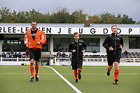 Second assistant Patrick Vandenberghe (L), referee Tom De Bruyne (M)and first assistant Jiri Bergs (R) warming up before a female soccer game between Oud Heverlee Leuven and AA Gent Ladies  on the first matchday of the 2020 - 2021 season of Belgian Women's SuperLeague , sunday 30 of August 2020  in Heverlee , Belgium . PHOTO SPORTPIX.BE | SPP | SEVIL OKTEM