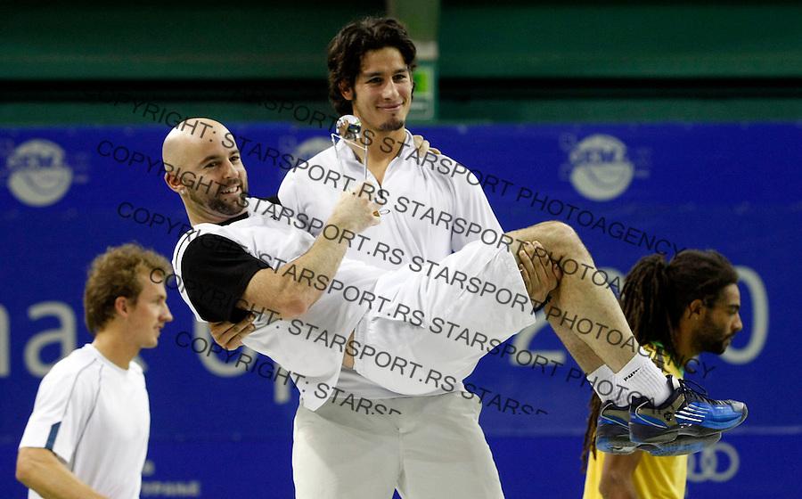 Tennis.Gemax Open 2010, doubles final match.Ilija Bozoljac & Jamie Delgado (GBR) Vs. Dustin Brown (JAM) & Martin Slanar (AUT).Ilija Bozoljac & Jamie Delgado (GBR).Belgrade, 20.02.2010..foto: Srdjan Stevanovic©