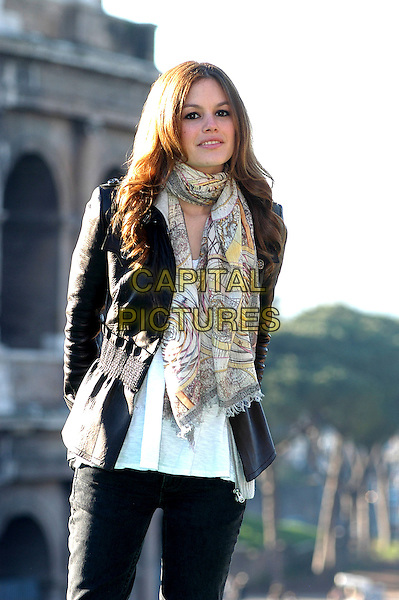 "RACHEL BILSON.Photocall for ""Jumper"", Rome, Italy..February 6th, 2008.half length black jacket pattern print scarf.CAP/CAV.©Luca Cavallari/Capital Pictures."