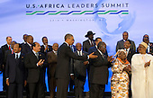 United States President Barack Obama takes part in the family photo at the Africa Leaders Summit, standing in between Mohamed Ould Abdel Aziz, President of the Islamic Republic of Mauritania (2nd Left) and Hifikepunye Pohamba, President of the Republic of Namibia (3rd Right), at the State Department in Washington DC, August 6, 2014. Obama is promoting business relationships between the United States and African countries during the three-day U.S.-Africa Leaders Summit, where 49 heads of state are meeting in Washington. <br /> Credit: Molly Riley / Pool via CNP
