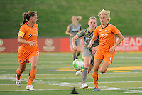 Daphne Koster (4) of Sky Blue FC is chased by Amy Rodriguez (8) of the Philadelphia Independence. The Philadelphia Independence defeated Sky Blue FC 2-1 during a Women's Professional Soccer (WPS) match at John A. Farrell Stadium in West Chester, PA, on June 6, 2010.