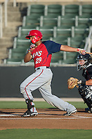 Raudy Read (29) of the Hagerstown Suns follows through on his swing against the Kannapolis Intimidators at CMC-Northeast Stadium on June 16, 2015 in Kannapolis, North Carolina.  The Suns defeated the Intimidators 8-4.  (Brian Westerholt/Four Seam Images)