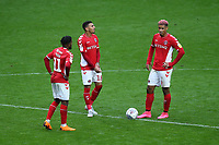 Lyle Taylor of Charlton anxiously wants to restart the match as Coventry City continue to celebrate their goal during Charlton Athletic vs Coventry City, Sky Bet EFL League 1 Football at The Valley on 6th October 2018