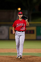 AZL Angels relief pitcher Luke Lind (49) requests a new ball during a game against the AZL Giants on July 10, 2017 at Scottsdale Stadium in Scottsdale, Arizona. AZL Giants defeated the AZL Angels 3-2. (Zachary Lucy/Four Seam Images)